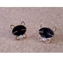 Earrings kitten stone