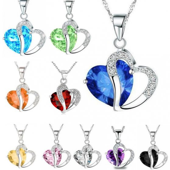 Necklace pendant heart stone