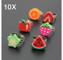 Lot de 10 bagues fruits enfants